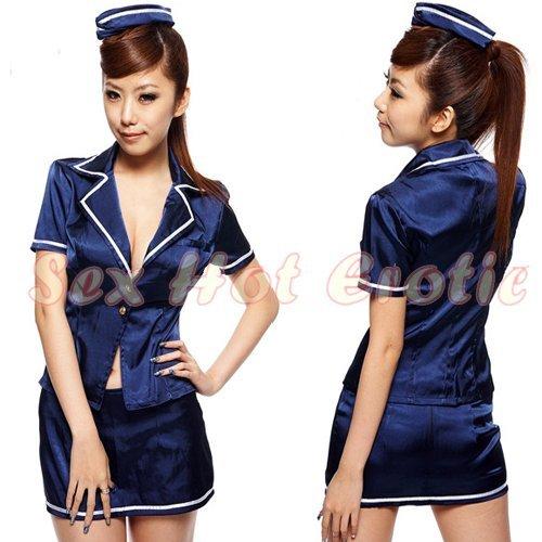 New SEXY & HOT Flight Attendant Stewardess Girl Cosplay Dress Cute women Costume Lingerie FA# 12