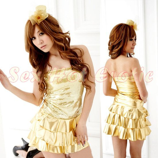 Clubbing Evening Stage Dancer Dress Sexy Lingerie Hot Cute women dress badydoll CD06A GOLD