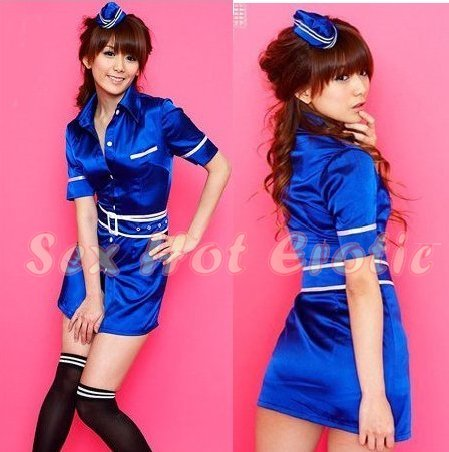 New SEXY & HOT Flight Attendant Stewardess Girl Cosplay Dress Cute women Costume Lingerie FA# 15