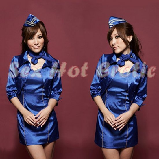 New SEXY & HOT Flight Attendant Stewardess Girl Cosplay Dress Cute women Costume Lingerie FA# 17