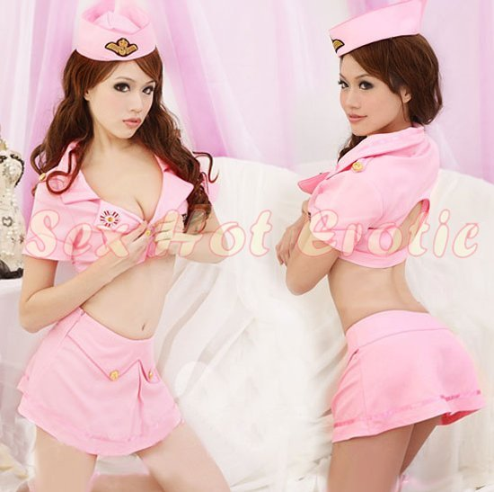 New SEXY & HOT Flight Attendant Stewardess Girl Cosplay Dress Cute women Costume Lingerie FA# 18