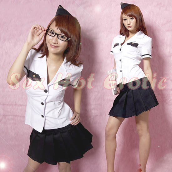 New SEXY & HOT Flight Attendant Stewardess Girl Cosplay Dress Cute women Costume Lingerie FA# 24