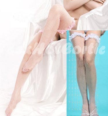 Halloween sexy white Fish Net Stockings with Frilly Lace Band suit for kimono, Nures SS01