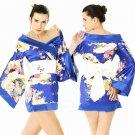 New Hot & Sexy Lace Japanese Kimono Lingerie Costume Sleep Dress Blue KM#26