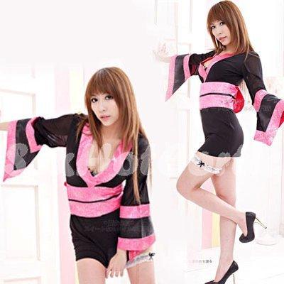Hot & Sexy Lace Japanese Kimono Lingerie Costume Sleep Dress KM#04