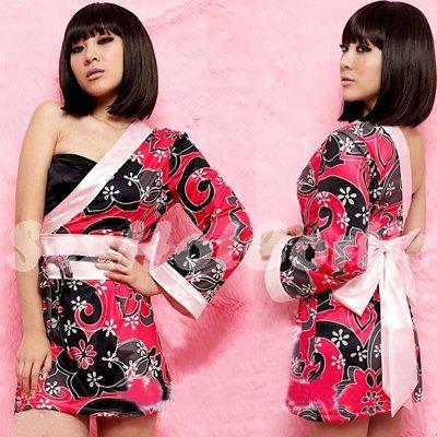 New Hot & Sexy Lace Japanese Kimono Lingerie Costume Sleep Dress KM#36