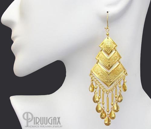 INCA PYRAMIDS Rich 18K Gold plated Chandelier Earrings