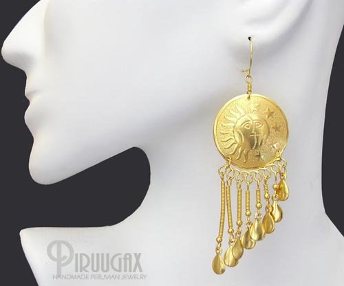 THE SUN & MOON Rich 18K Gold plated Chandelier Earrings