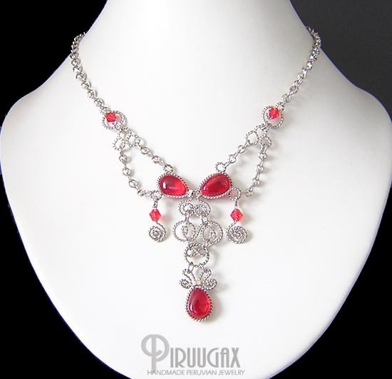 INDIAN PASSION Silver RUBY RED Murano Glass Necklace