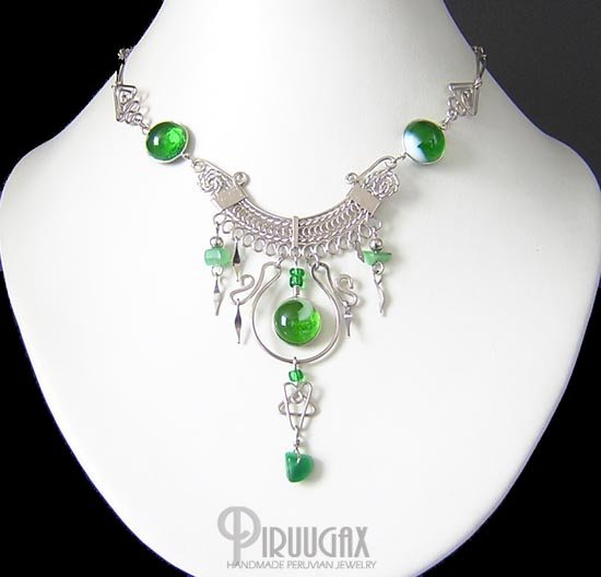 FERTILE VALLEY Silver EMERALD GREEN Murano Glass Necklace