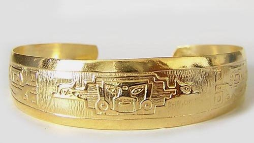 MIGHTY INCA Rich 18K Gold plated Embossed Bracelet Cuff