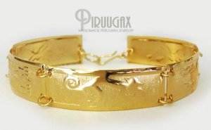 INCA TREASURES  Rich 18K Gold plated Embossed Bracelet