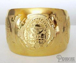 INCA SUN GOD Rich 18K Gold plated Embossed Bracelet Cuff