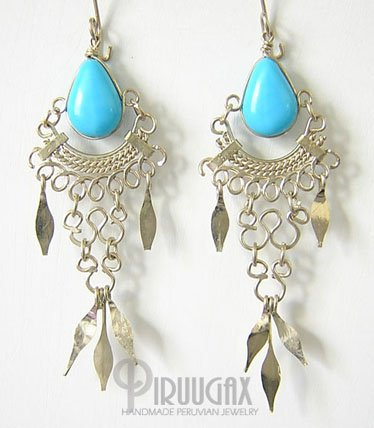 TURQUOISE Gorgeous Silver Lucite beads Chandelier Earrings