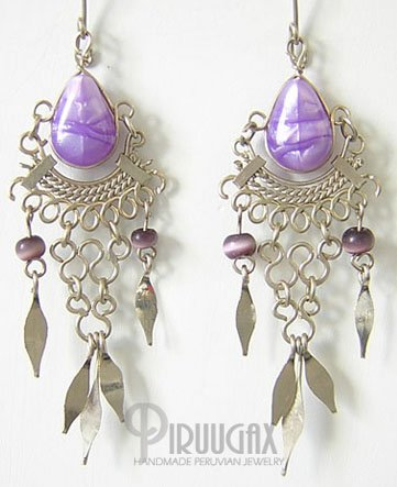 LILAC Gorgeous Silver Lucite beads Chandelier Earrings