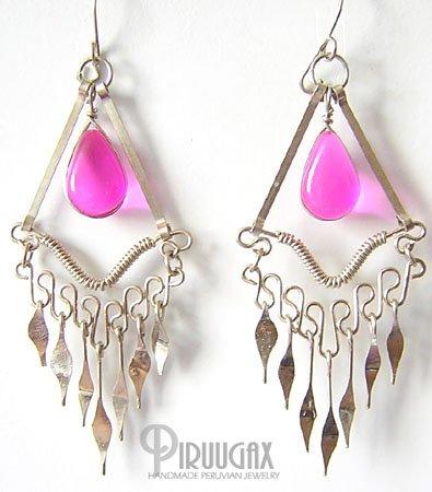 ROSE FUCHSIA Silver Lucite Beads Chandelier Earrings