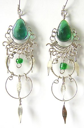 EMERALD GREEN Silver Lucite Beads Chandelier Earrings