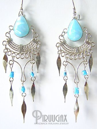 SKY BLUE Silver iridescent Lucite Beads Chandelier Earrings