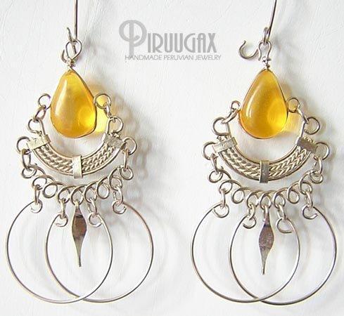 HONEY AMBER Silver Lucite Beads Chandelier Earrings