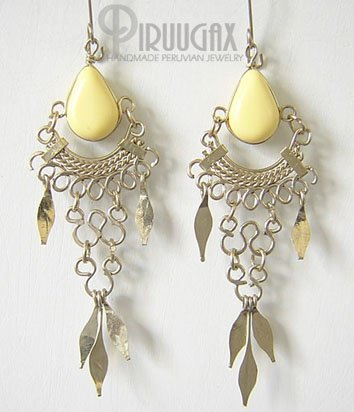 YELLOW Silver Lucite Beads Chandelier Earrings