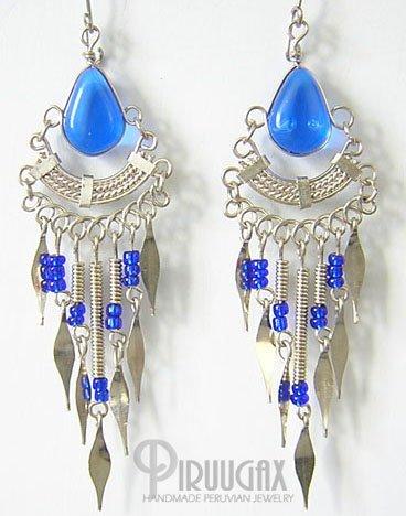 SAPPHIRE BLUE Silver Lucite Beads Chandelier Earrings