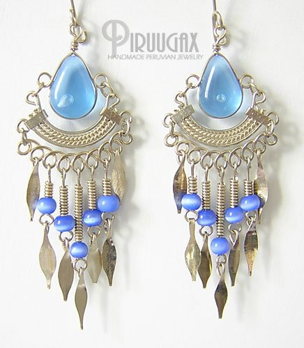 TRANSLUCENT SAPPHIRE Silver Lucite Beads Chandelier Earrings