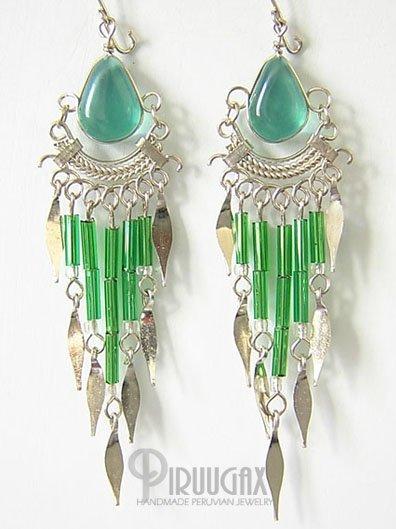 EMERALD GREEN Silver Lucite Beads Chandelier Earrings