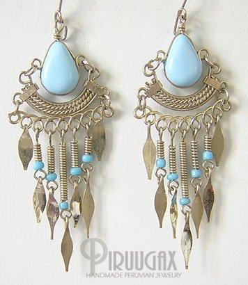 BABY BLUE CASCADE Silver Lucite Beads Chandelier Earrings
