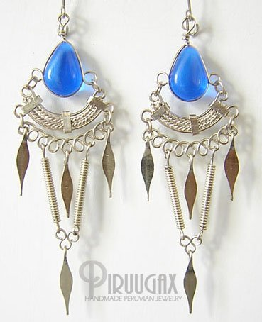 SAPPHIRE BLUE Silver Lucite Beads Chandelier Earrings