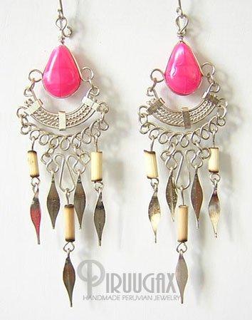 TRIBAL FUCHSIA Silver Lucite Beads Chandelier Earrings