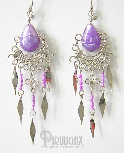 Iridescent PURPLE Silver Lucite Beads Chandelier Earrings