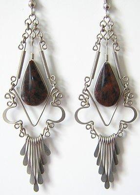 MOTHER EARTH Brown Obsidian Silver Chandelier Earrings