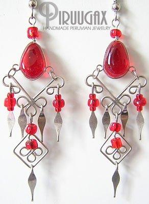 RUBY RED Glass Silver Chandelier Earrings