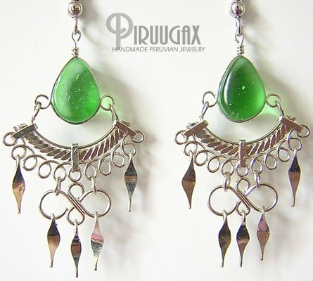 EMERALD GREEN Glass Silver Chandelier Earrings