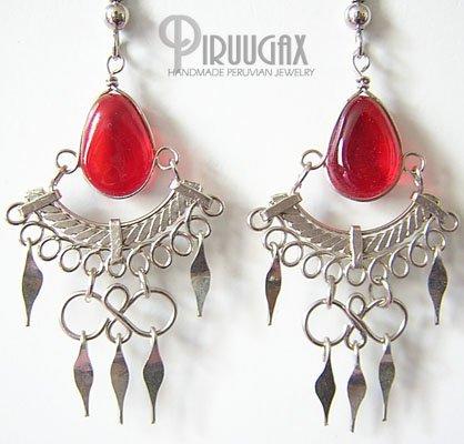RUBY RED Murano Glass Silver Chandelier Earrings