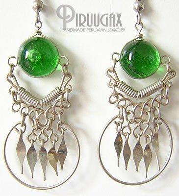 EMERALD GREEN Murano Glass Silver Chandelier Earrings