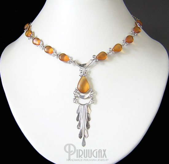HONEY AMBER Lucite beads Chandelier Necklace