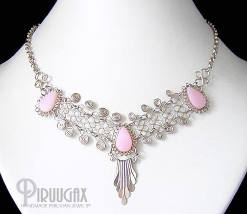ANDEAN WHISPER Silver Pink Opal Necklace Choker
