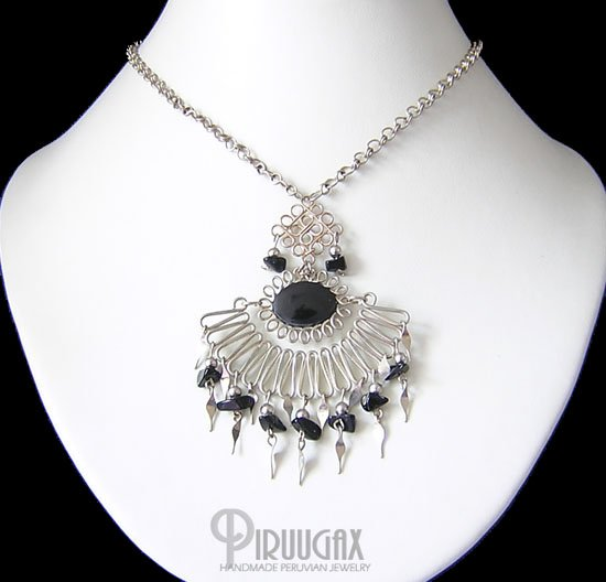 TALISMAN Silver Black Obsidian Necklace Choker