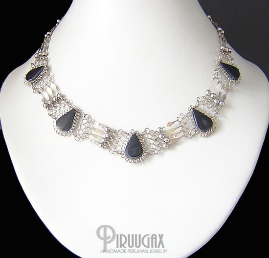 INDIAN SPIRIT Silver Black Obsidian Necklace Choker