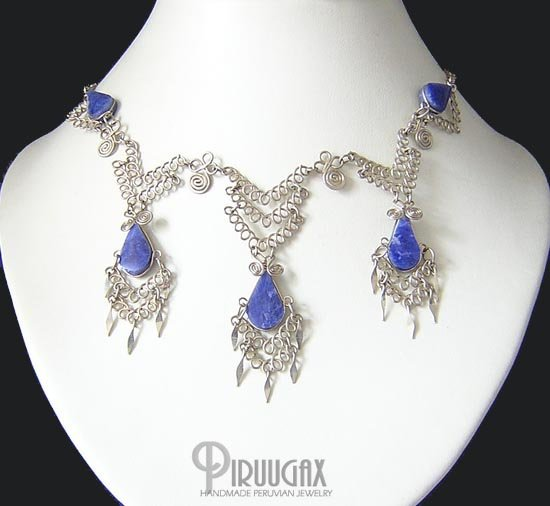 INDIAN SPIRIT Silver Lapis Sodalite Necklace Choker