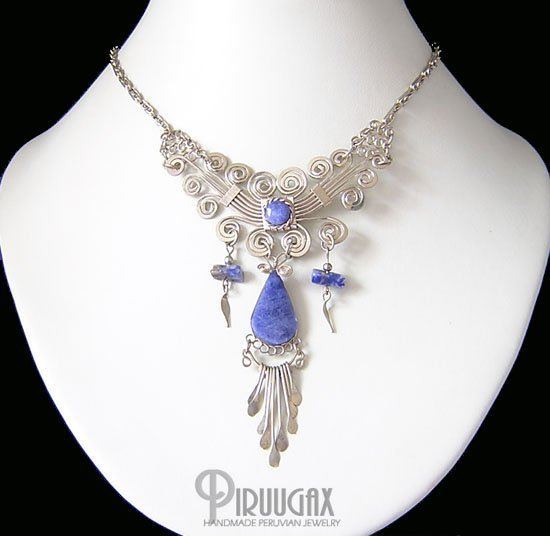 ROYAL PEACOCK Silver Lapis Sodalite Necklace Choker
