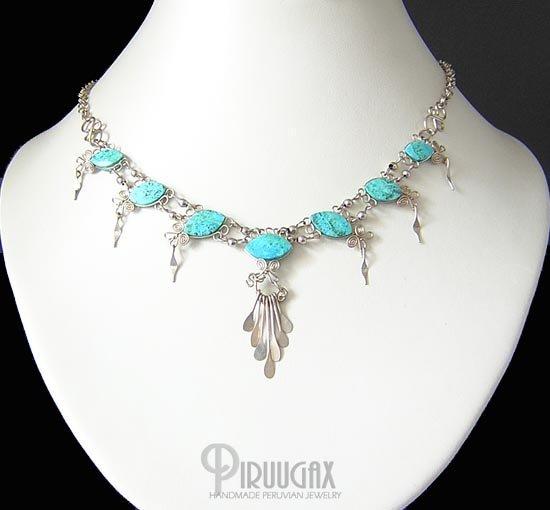 SECRET SANCTUARY Silver Turquoise Necklace Choker