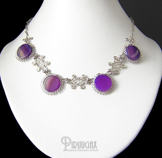 FESTIVITY Silver Purple Agate Necklace Silver