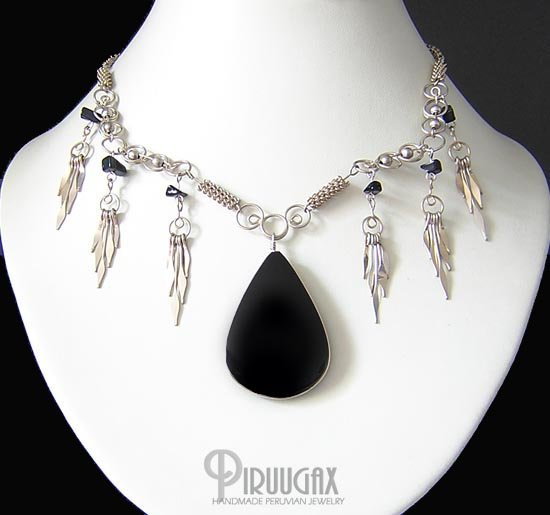 PACIFIC NIGHT Silver Black Obsidian Medallion Necklace Choker