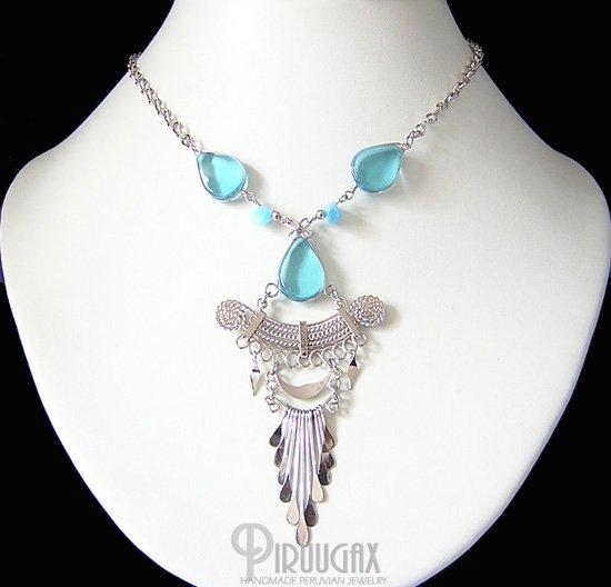 CELESTIAL BLUE Silver Topaz  Murano Glass Necklace