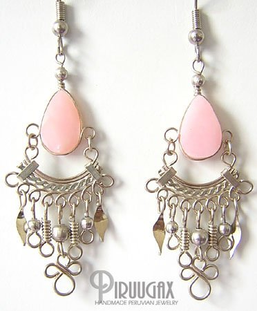SWEET SYMPHONY Pink Opal Silver Chandelier Earrings
