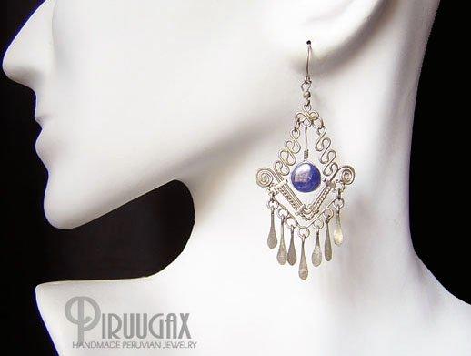 ROYAL PEACOCK Lapis Sodalite Silver Chandelier Earrings