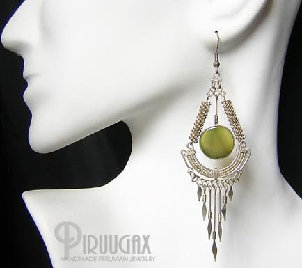 DEVOTION Green Agate Silver Chandelier Earrings