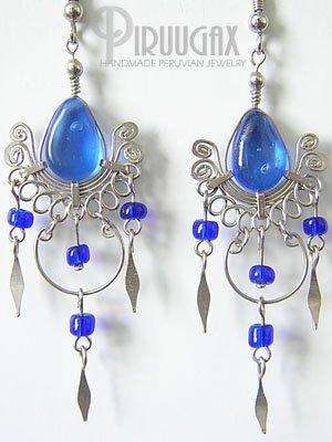 SAPPHIRE BLUE Murano Glass Silver Chandelier Earrings